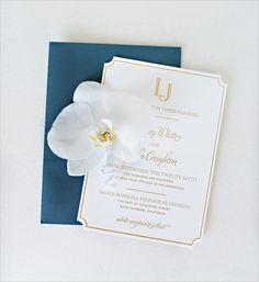 Navy envelop classic gold embossed wedding invitations @weddingchicks Lazaro Press Linda Chaja Photography  Magnolia Event Design Wedding Planner and Event Designer