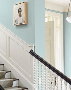 stairwell with wainscotting