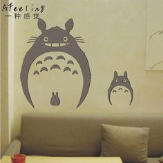 Totoro Wall Decal Japanese Cartoon Wall Decal Totoro Wall Stickers Mural Art  Vinyl Wall Decal Home Decorative Decoration