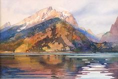 Jenny Lake Morning 3 original watercolor painting of Lake Powell landscape by David Drummond at Wilcox Gallery