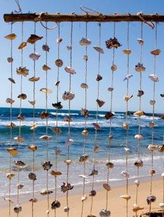 Hanging Shell Beach Decor ~ Saw this with glass beads in between shells. Seaside Decor, Beach Cottage Decor, Coastal Decor, Seaside Bedroom, Shell Beach, Seashell Crafts, Beach Crafts, Beaded Curtains, Beach Themes