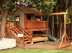 Architecture. Playroom Cool Playhouses Ideas Affordable Kids Home Furniture For Children Awe Inspiring Child Playhouse With Green Swing And Slider Wooden Stair Id As Well As Kids Store Online And Kids Online Shopping. Appealing Cheap Playhouse Designs For Girls