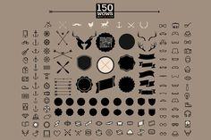 150 retro hipster icon and label set by Noka Studio on @creativemarket