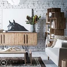 Pampa rug and Horse Print, as seen in Real Living. White Wash Brick, White Brick Walls, Interior Walls, Interior Design, Oz Design Furniture, Jackie Brown, Home Furnishings, Beautiful Homes, Indoor