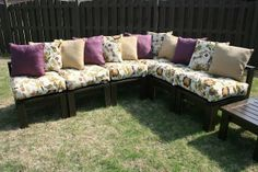 2x4s, screws, and some outdoor paint! Looks like a pricey pottery barn sectional. Great tutorial for outdoor furniture that cost her in the ballpark of around $300 including the cushions!!! The 36th AVENUE | DIY Outdoor Sectional