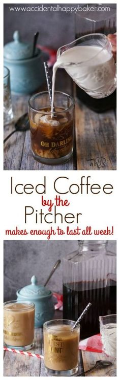 3 simple steps and youve got a pitcher of delicious iced coffee to last you the week! Say goodbye to expensive over sweetened commercial iced coffee with this easy DIY recipe found on Coffee Creamer, Iced Coffee, Iced Cappuccino, Coffee Barista, Starbucks Coffee, I Love Coffee, Fresh Coffee, Summer Drinks, Cold Drinks