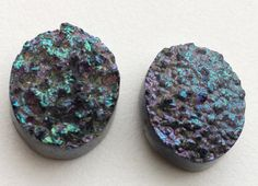 Rainbow Blue Druzy Drilled Titanium Druzy Matched by gemsforjewels