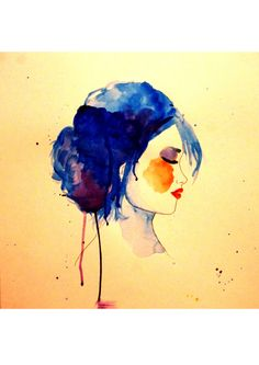 Pauline Penhouët Illustration Illustrations, Blue Hair, Girl Hairstyles, Watercolor Tattoo, Blues, Painting, Art, Daughter, Art Background