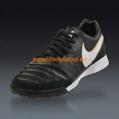 db91b4177f6 Barato Zapatos de futbol Para Moqueta Nike Tiempo Mystic V TF El Oro Negro  Metalico Blanco