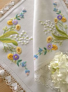 """Excited to share this item from my shop: Beautiful Vintage Hand Embroidered """"Lily Of The Valley"""" Linen Tray Cloth Cushion Embroidery, Embroidery Alphabet, Embroidery Flowers Pattern, Embroidery Motifs, Silk Ribbon Embroidery, Hand Embroidery Designs, Diy Embroidery, Vintage Embroidery, Brazilian Embroidery Stitches"""