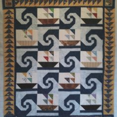 Sailboat Quilt, good use of Snail Trail Cute Quilts, Lap Quilts, Small Quilts, Quilting Tutorials, Quilting Projects, Quilting Designs, Ocean Quilt, Fish Quilt, Quilt Baby