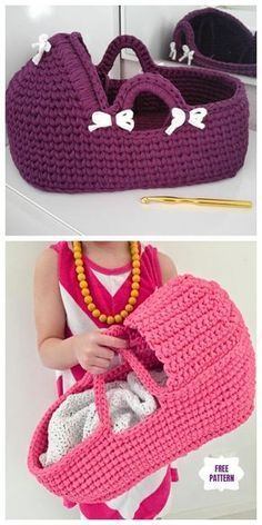 Wonderful Photos Crochet basket step by step Suggestions Crochet Cradle Basket Baby Carrier Free Crochet Pattern – Video Crochet Baby Toys, Crochet Doll Clothes, Crochet Gifts, Crochet For Kids, Baby Knitting, Free Crochet, Knitting Ideas, Free Knitting, Crochet Animals