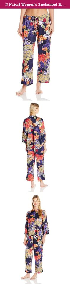 N Natori Women's Enchanted River Pj Set, Spectrum Blue, Large. Silky car me use printed pajama with button front and mandarin neckline.