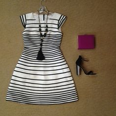 Halston white with black piping dress, Zenzii long tassel necklace, magenta box clutch, and Chinese Laundry Sea Breeze sandal in black suede