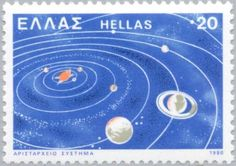Heliocentric system Ancient Greek Technology, Postage Stamps, Greece, History, Greece Country, Historia, Stamps
