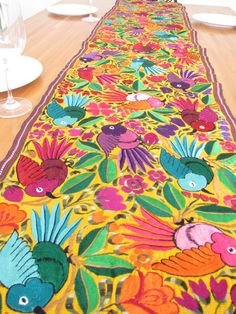 Embroidered birds table runner yellow, handmade in Chiapas, Mexico