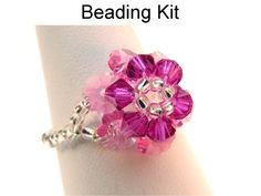 Beading Kit and Pattern Crystal Flower Ring in by SimpleBeadKits