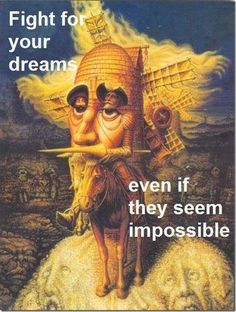 Optical Illusion Pictures and Illusion Art Hidden faces Dali Several faces are hidden in this art illusion picture of Don Quixote from Salvador Dali, the Spanish surrealist. Optical Illusion Paintings, Amazing Optical Illusions, Optical Illusions Pictures, Illusion Pictures, Art Optical, Caballero Andante, Face Illusions, Funny Illusions, Illusions Mind