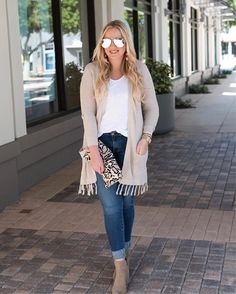 Tassels are here to stay for fall and I'm all about it  I couldn't resist this cutie cardi (it's a steal for $34!) more from this look is up on the blog now || outfit details are also linked with @liketoknow.it http://liketk.it/2suA1 #liketkit #LTKunder50 #LTKitbag