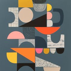 """My new """"Bits and Pieces"""" print is included in the orders I need to ship today. Always nice when someone chooses a recent creation. . . . . #print #gicleeprint #shapes #collage #geometric #triangles #circles #art #design #pattern #texture #abstractart #eloiserenouf"""