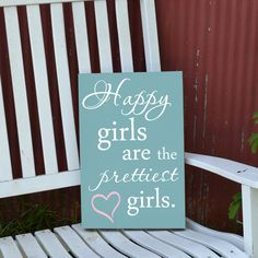 Happy girls are the prettiest girls Audrey Hepburn quote sign painted wood sign. $32.00, via Etsy.
