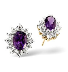 Amethyst 6 x 4mm And Diamond 9K Yellow Gold Earrings - Item B3214. #thediamondstoreuk #amethystearrings #amethyst #earrings #diamonds