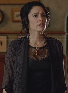 Wendy's black leather top with lace inset on Witches of East End.  Outfit Details: http://wornontv.net/23628/ #WitchesofEastEnd