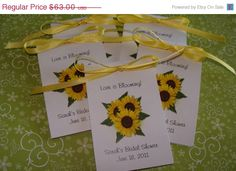 ON SALE 36 Personalized Sunflower Wedding Favor by SuLuGifts, $56.70