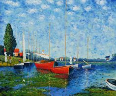 claude monet art Red Boats at Argenteuil