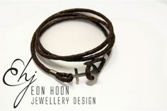 Leather Wrap Anchor Bracelet by Eon Hoon Jewellery Design Dapper, Anchor, Jewelry Design, Black Leather, Hipster, Jewellery, Personalized Items, Bracelets, Hipsters