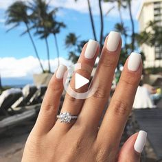 White nail art is increasingly popular and looks great with any skin tone. Check out the best design ideas for 2020 here White Acrylic Nails, Best Acrylic Nails, Summer Acrylic Nails, Matte White Nails, White Nail Polish, White Acrylics, Hair And Nails, My Nails, Bio Gel Nails