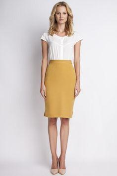 d423665477ed Mustard High Waist Knee Length Elegant Skirt Budget Fashion
