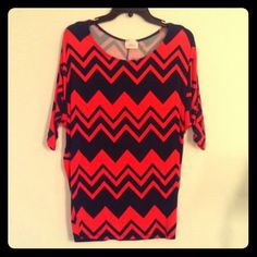 Coral-navy chevron top Excellent condition, worn once or twice. Very fitted at waist, sleeves and neck line are fairly loosely fitted. Misia Tops Blouses