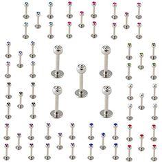 5er Set Labret Madonna Lippen-Piercing mit 3mm Zirkonia 12 Farben 6 mm Stablänge - http://schmuckhaus.online/skinart/5er-set-labret-madonna-lippen-piercing-mit-3mm-12-6