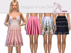 The Sims Resource: Designer A-Line Skirts by EsyraM • Sims 4 Downloads