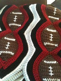 Bizzy Crochet: Current WIP Football. Crochet. Blanket - afghan.