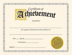 Free Editable Certificates Of Achievement Excellence Or Merit