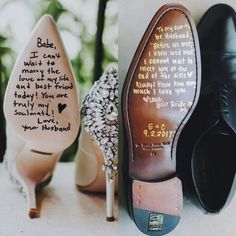 We love this idea! When it comes to your bridal look, the bottom of your shoes might not be at the top of your list, but these sole messages really touched our hearts and can be fun too! ☺️👠 #WeddingTips #WeddingShoes #WeddingDay