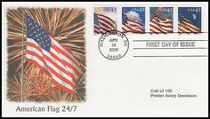 Strip includes: 4240 Flag at Dusk / 4241 Flag at Night / 4242 Flag at Dawn and 4243 Flag at Midday. Have description of the stamp subject printed on the back. IS IN MINT, UNADDRESSED CONDITION.