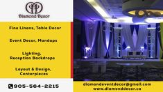 One of the most popular and professional parties decor service provider near you is Diamond Decor. Diamond Decor Covers the areas whole GTA, Brampton, Mississauga. Call Today to get instant quotes for your upcoming event decor Diamond Decorations, Layout, Corporate Events, Event Decor, Be Yourself Quotes, Special Events, Wedding Parties, Gta, Baby Showers