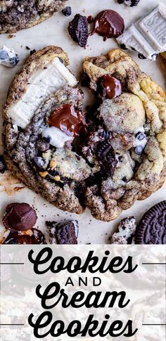 Chewy Cookies and Cream Cookies from The Food Charlatan. These Chewy Cookies and Cream Cookies are over the top! They are chocolate chip cookies that are loaded with chopped Oreos, dark chocolate, Hershey's Cookies and Cream candy bars, plus they have crushed Oreos mixed into the dough. They are soft, thick, chewy, and totally irresistible! #cookie #easy #recipe #oreo #cookiesandcream #cream #homemade #chocolatechips #dessert #hersheys #dough #fromscratch #best #chocolate #outrageous Oreo Cheesecake Bars, Cheesecake Recipes, Cookie Recipes, Cookie Ideas, Vegan Recipes, Easy No Bake Desserts, Köstliche Desserts, Delicious Desserts, Easy Chocolate Chip Cookies