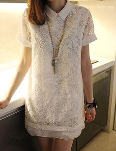 Cute Turndown Collar Flower Pattern Lace Short Sleeve Dress For Women (WHITE,ONE SIZE) China Wholesale - Sammydress.com