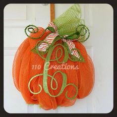 Hey, I found this really awesome Etsy listing at http://www.etsy.com/listing/155704921/monogrammed-pumpkin-wreath