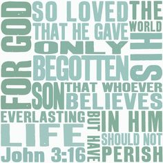 John 316, For God so loved the world, green, blue, square, graphic, typography, cool