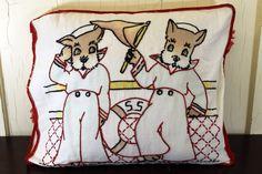 Vogart Sailor Scottie Dog Embroidered Pillowcase & Pillow