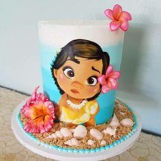 Moana Birthday Party Theme, 1st Birthday Cakes, 1st Birthday Girls, Moana Party Decorations, Birthday Party Decorations, Moana Cake Design, Mohana Cake, Festa Moana Baby, Bolo Moana