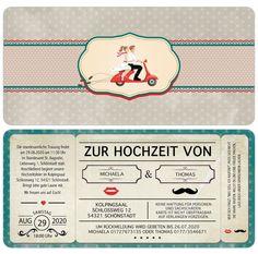 Details Zu Einladungskarte Zur Hochzeit   Vintage   Retro   Eintrittskarte    Ticket   Karte