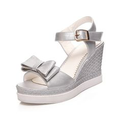 VogueZone009 Women's Pu Solid Buckle Open-Toe High Heels Platforms and Wedges -- You can find out more details at the link of the image.