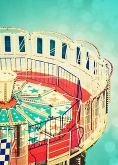 turquoise and red carnival ride