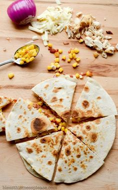 Bacon, Chicken, and Sweet Corn Quesadillas - Bless This Mess